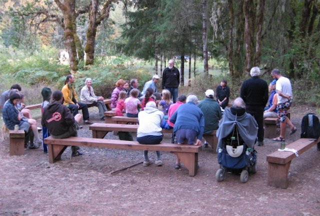 Sharing tales around the fireless firepit