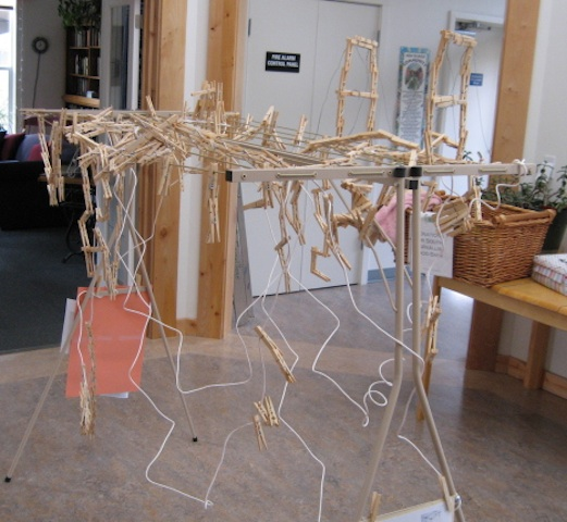 This rack was used as a frame for the 2013 Hanging Out Day progressive clothespin sculpture.