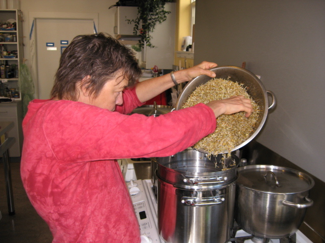Lentils heading into the steamer pot