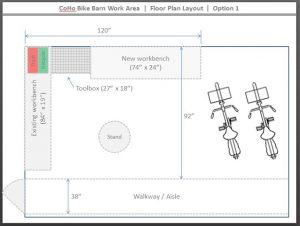Initial bike barn floor plan concept